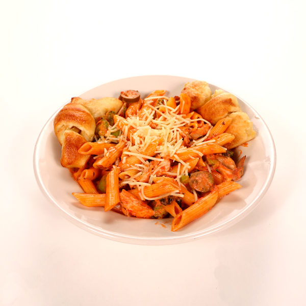 Pink cream sauce, chicken, broccoli, mushrooms, romano cheese and jalapenos (optional)