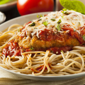 Chicken Cutlet Parm w/ Spaghetti