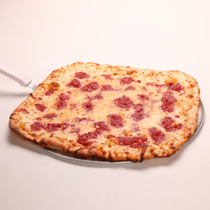 This NY favorite is a square, Thin crust pizza made with a tasty marinara sauce